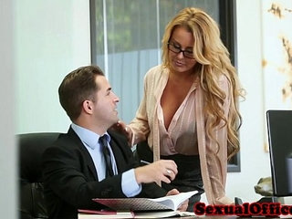 Office secretary gets cum on tits