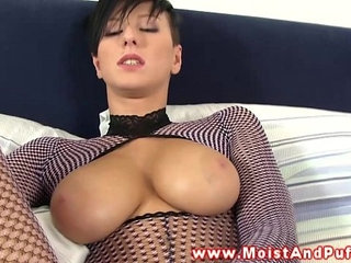 Beautiful puffy peach busty babe solo sex
