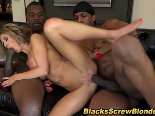 Slut swallows black cocks