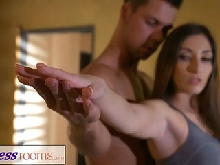 Fitness Rooms Private yoga class after workout for leggy French Milf