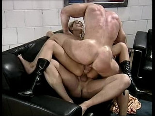 two muscle studs fuck insatiable busty blonde