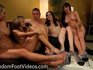 Four lesbians and guy in foot tease