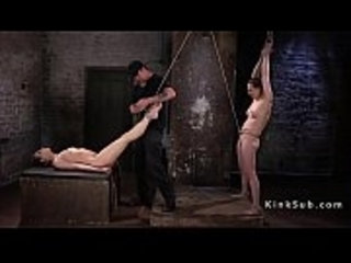 Two slaves suffers in rope bondage