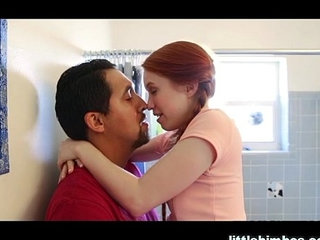 Tiny redhead fucked hard by fest friends dad